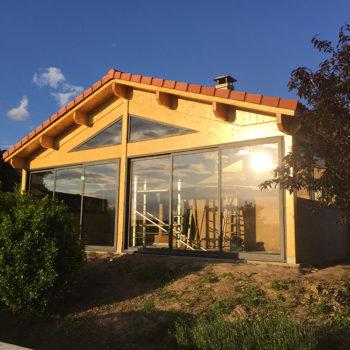 Amenagement terrasse et baie vitrée exterieur bois